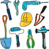 Drawn colored tools Stock Images