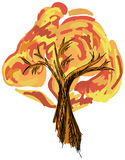 Drawn colored tree on white. Vector illustration Royalty Free Stock Images