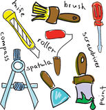 Drawn colored working tools with roller stock illustration