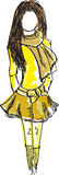 Drawn colored young girl in yellow clothes Royalty Free Stock Photography