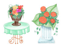 Drawn colorful flower vases. Table with flower vase and rose column drawn by pencil and watercolor Stock Images