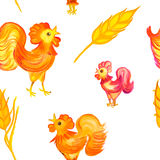 Drawn colorful spica and rooster pattern. Drawn colorful spica and rooster background by watercolor and pencil Stock Photo