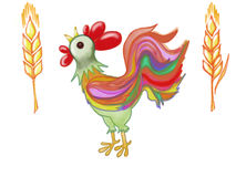 Drawn colorful wheat and rooster Stock Images