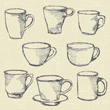 Drawn  cups Stock Images