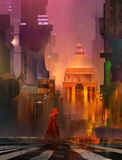 Drawn with cyberpunk city. Art with cyberpunk city and the monk Royalty Free Stock Photos