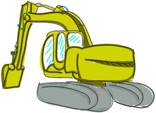 Drawn digger on white Royalty Free Stock Photography
