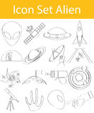 Drawn Doodle Lined Icon Set Aliens Royalty Free Stock Photo