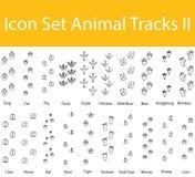 Drawn Doodle Lined Icon Set Animal Tracks II Stock Photography