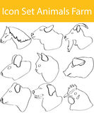 Drawn Doodle Lined Icon Set Animals Farm Royalty Free Stock Photos