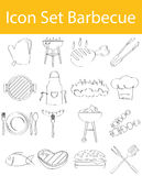 Drawn Doodle Lined Icon Set Barbecue. With 16 icons for the creative use in graphic design Stock Photos