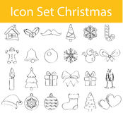 Drawn Doodle Lined Icon Set Christmas Royalty Free Stock Images