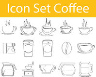 Drawn Doodle Lined Icon Set Coffee I. With 15 icons for the creative use in graphic design Royalty Free Stock Photo