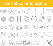 Drawn Doodle Lined Icon Set Communication I Stock Image