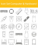 Drawn Doodle Lined Icon Set Computer_Hardware I. With 25 icons for the creative use in graphic design Stock Photos