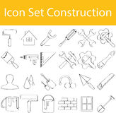 Drawn Doodle Lined Icon Set Construction I. With 24 icons for the creative use in graphic design Stock Image