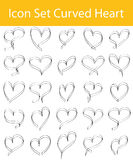Drawn Doodle Lined Icon Set Curved Hearts. With 16 icons for the creative use in graphic design stock illustration