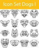 Drawn Doodle Lined Icon Set Dogs I. With 16 icons for the creative use in graphic design Vector Illustration
