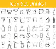 Drawn Doodle Lined Icon Set Drinks I Royalty Free Stock Image