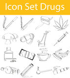 Drawn Doodle Lined Icon Set Drugs royalty free illustration