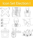 Drawn Doodle Lined Icon Set Election I Stock Images