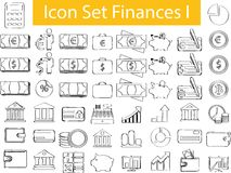 Drawn Doodle Lined Icon Set Finances I Royalty Free Stock Photos