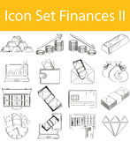 Drawn Doodle Lined Icon Set Finances II. Icon Set Finances II with 16 icons for the creative use in graphic design Stock Images
