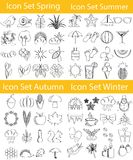 Drawn Doodle Lined Icon Set Four Seasons Royalty Free Stock Photo