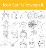 Drawn Doodle Lined Icon Set Halloween II Stock Photography