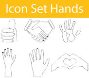 Drawn Doodle Lined Icon Set Hands I Royalty Free Stock Image