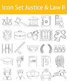 Drawn Doodle Lined Icon Set Justice & Law II. With 25 icons for the creative use in graphic design Stock Image