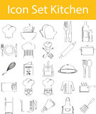 Drawn Doodle Lined Icon Set Kitchen Stock Photos