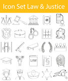 Drawn Doodle Lined Icon Set Law and Justice. With 25 icons for the creative use in graphic design Stock Image