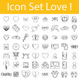 Drawn Doodle Lined Icon Set Love I. With 56 icons for the creative use in graphic design Stock Photos