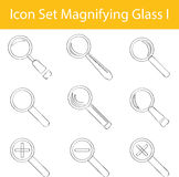 Drawn Doodle Lined Icon Set Magnifying Glass I Stock Photos