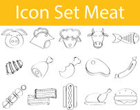 Drawn Doodle Lined Icon Set Meat. With 15 icons for the creative use in graphic design Royalty Free Stock Photo