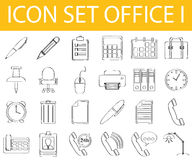 Drawn Doodle Lined Icon Set Office I. With 24 icons for the creative use in graphic design Stock Image