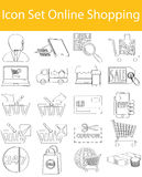 Drawn Doodle Lined Icon Set Online Shopping Stock Images