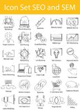 Drawn Doodle Lined Icon Set SEO and SEM Stock Photos