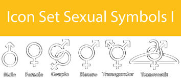 Drawn Doodle Lined Icon Set Sexual Symbols I. With 6 icons for the creative use in graphic design Royalty Free Stock Photo
