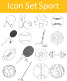 Drawn Doodle Lined Icon Set Sport. With 16 icons for the creative use in graphic design royalty free illustration