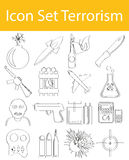 Drawn Doodle Lined Icon Set Terrorism. With 16 icons for the creative use in graphic design Royalty Free Stock Images
