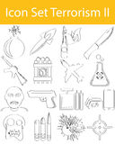 Drawn Doodle Lined Icon Set Terrorism II Stock Images