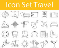 Drawn Doodle Lined Icon Set Travel. With 24 icons for the creative use in graphic design Royalty Free Stock Image