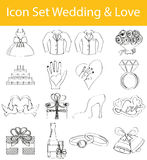 Drawn Doodle Lined Icon Set Wedding & Love Royalty Free Stock Image