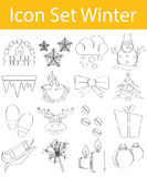 Drawn Doodle Lined Icon Set Winter Stock Photos