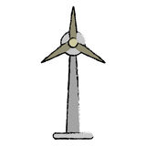 Drawn ecology wind turbine electricity generator Royalty Free Stock Photos