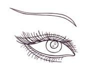 Drawn eye.Graphic style. Black pen. Black and white Royalty Free Stock Image