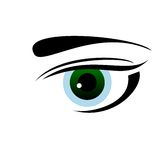 Drawn eye of green color Royalty Free Stock Images