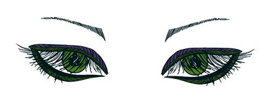 Drawn eyes.Graphic style. Green eyes Royalty Free Stock Images