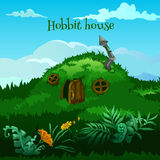 Drawn fairy hobbit house in the meadow Royalty Free Stock Photography